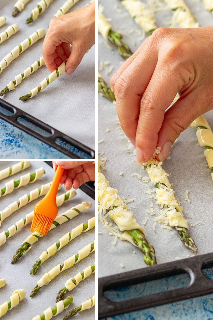 Parmesan Asparagus Pastry Twists Steps