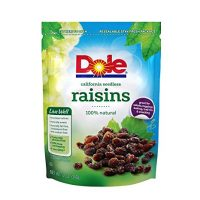 Dole California Seedless Raisins, 12 Ounce Bag, Naturally Fat-Free Sodium-Free, No Preservatives, Great in Salads Toppings Baking Trail Mix and Snacks