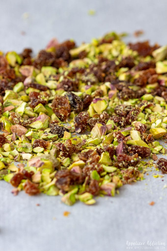 Crushed pistachio for Goat Cheese Log
