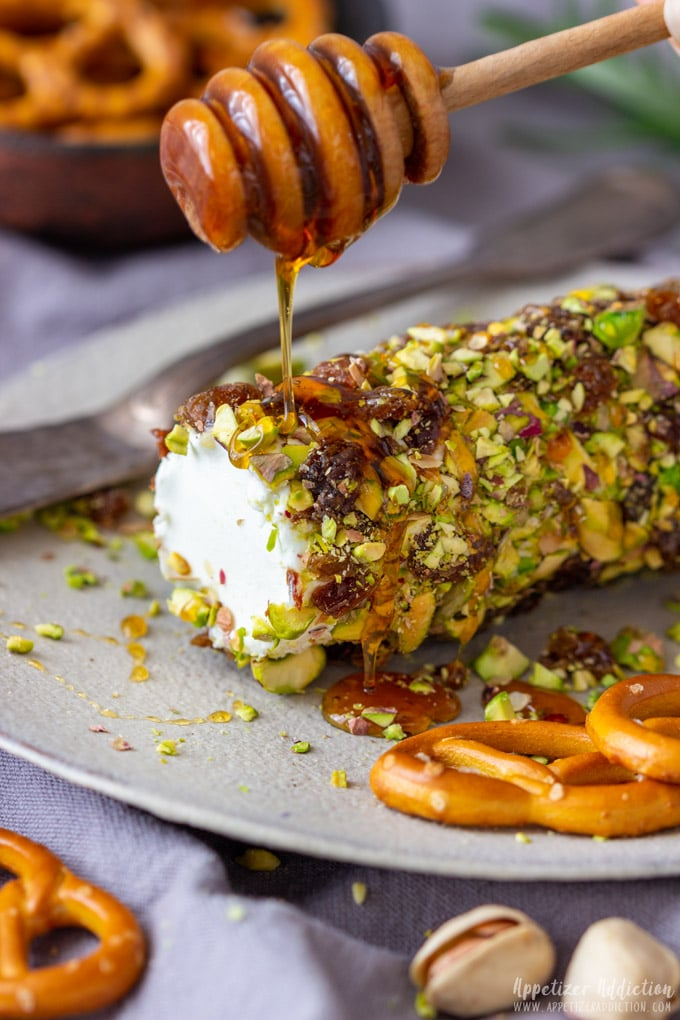 Pistachio Goat Cheese Log with Honey