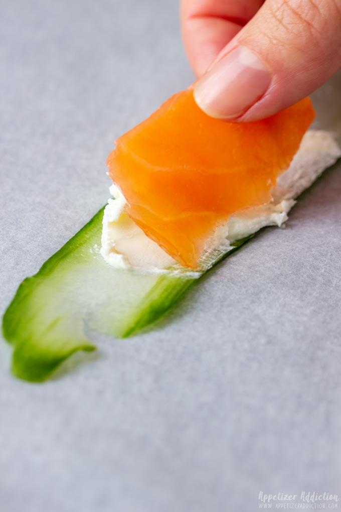 How to make Smoked Salmon Cucumber Rolls Step 2
