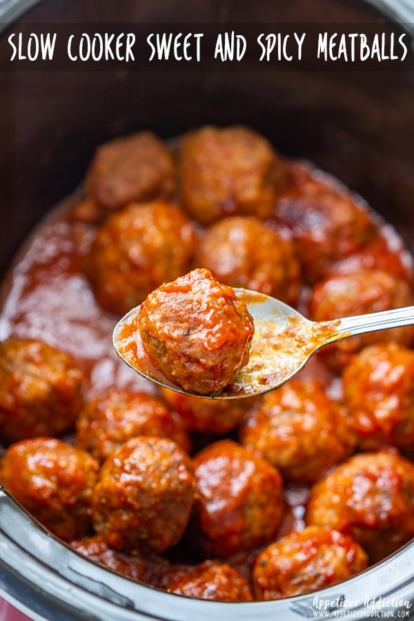 Slow cooker sweet and spicy meatballs are the perfect appetizer for any occasion! Made from scratch these meatballs are a crowd pleaser. Easy recipe. #appetizeraddiction #slowcooker #crockpot #meatballs #recipes #appetizers #spicy #partyfood