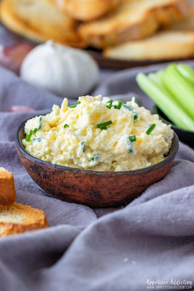 Garlic Cheddar Cheese Dip in the Bowl