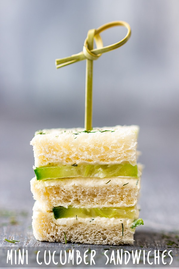 Mini cucumber sandwiches are an easy appetizer perfect for picnics, parties or family gatherings. To make these refreshing bites you only need bread, cucumbers and tasty cream cheese mixture. #appetizeraddiction #cucumber #sandwiches #recipe #appetizers #partyfood