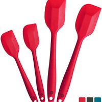 StarPack Basics Silicone Spatula Set (2 Small, 2 Large), High Heat Resistant to 480F, Hygienic One Piece Design (Cherry Red)