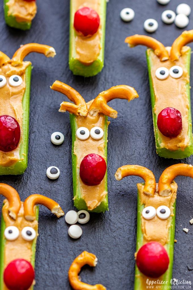 Funny Rudolph Celery Snacks