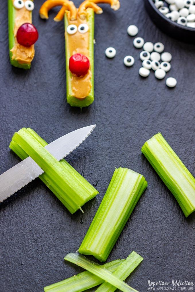 How to make Rudolph Celery Snacks Step 1