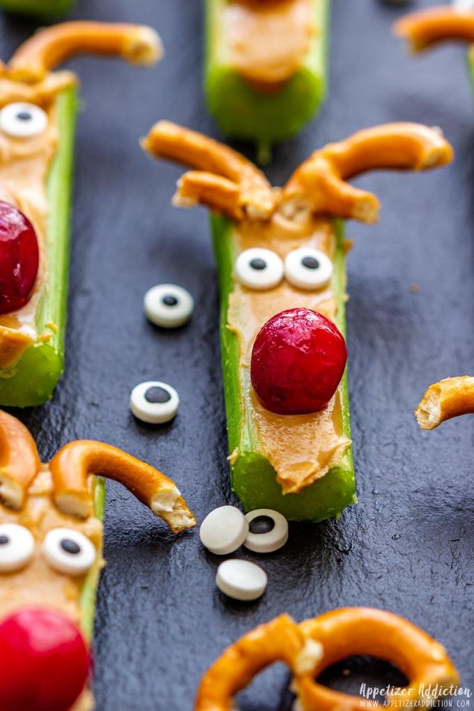 Red Nose Rudolph Celery Snacks
