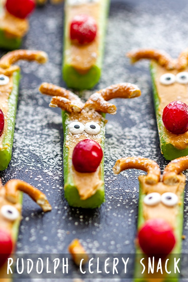 Healthy Holiday snacks for kids don't have to be boring! Surprise your little ones with these Rudolph Celery Snacks. They are easy, healthy and quick to make. #snacks #appetizers #holidays #partyfoods #christmasappetizers #christmas #rudolph