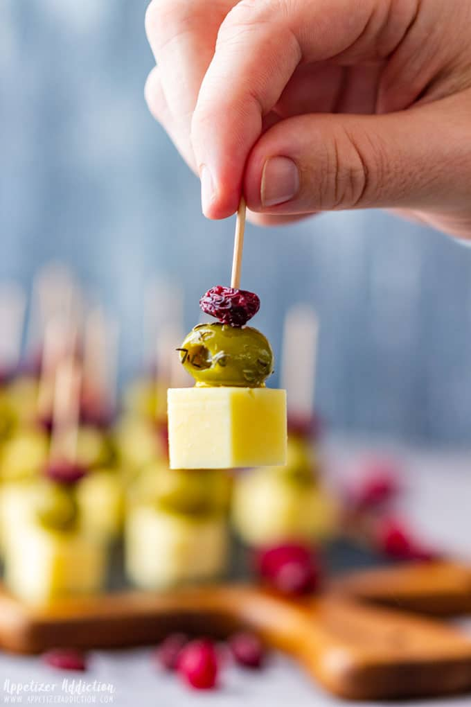 Eating Cranberry Olive Cheese Skewers