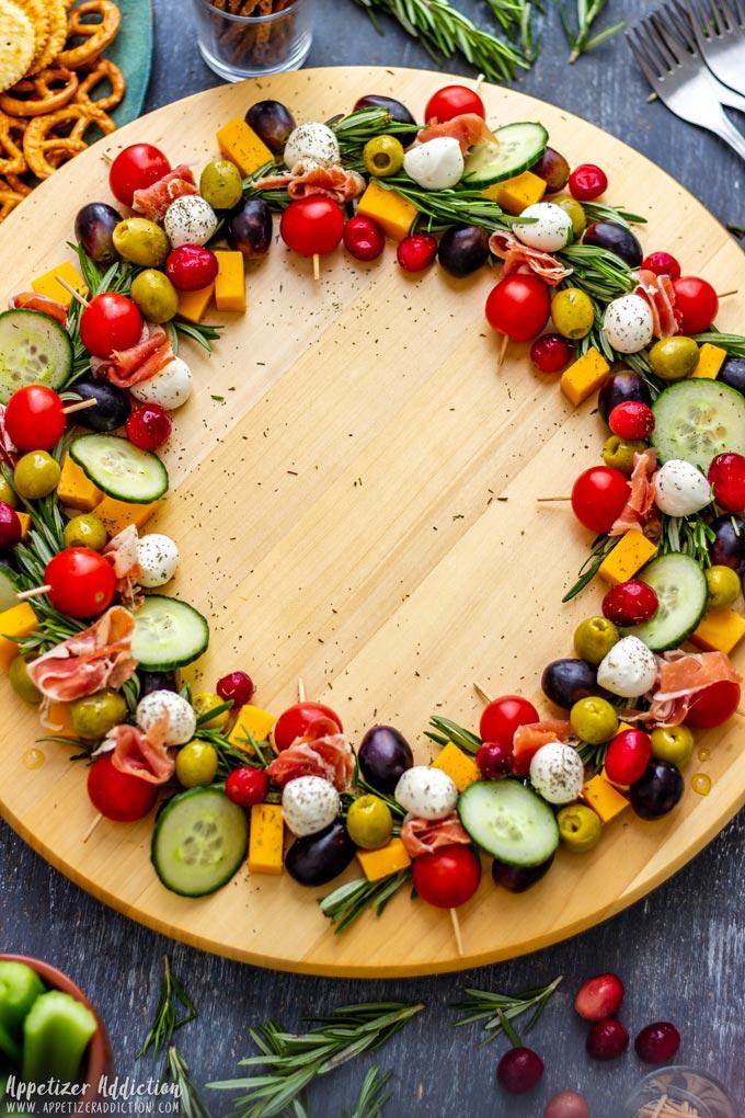 Gourmet Style Christmas Wreath Cheese Board
