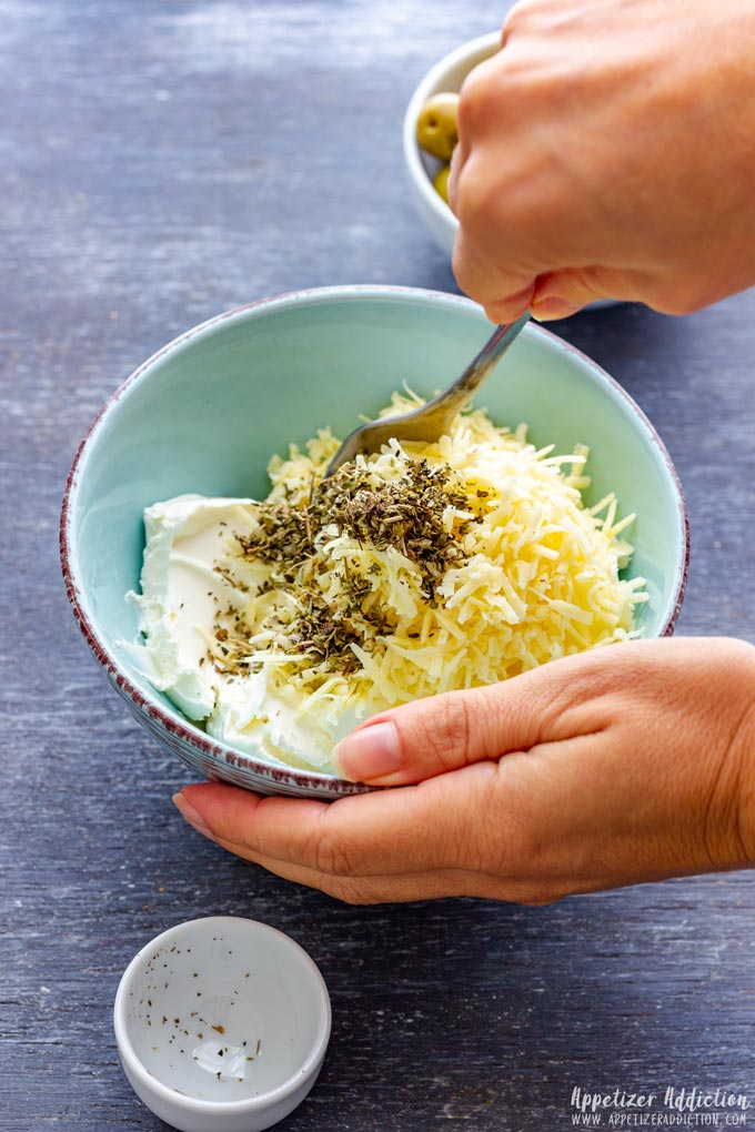 How to make Olive Stuffed Cheese Ball Bites Step 1