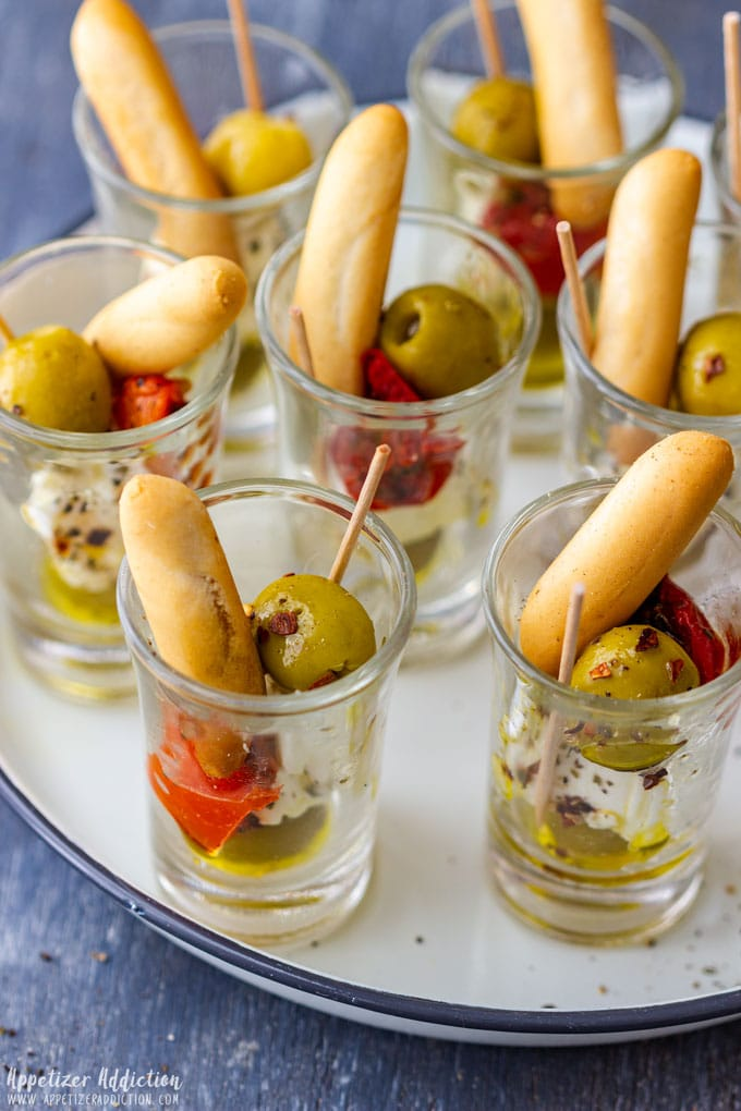 Best Party Appetizers Olive and Feta Shooters