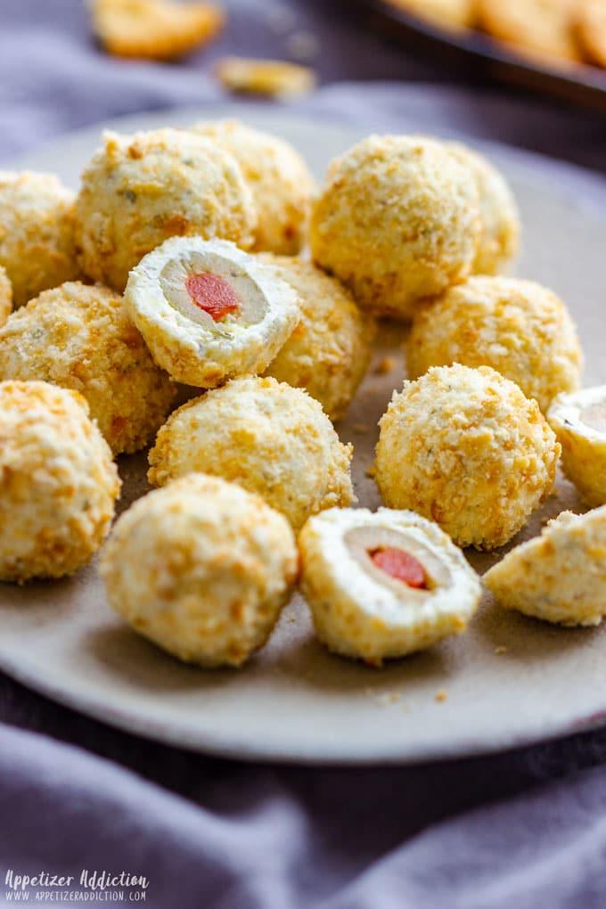 Homemade Olive Stuffed Cheese Ball Bites