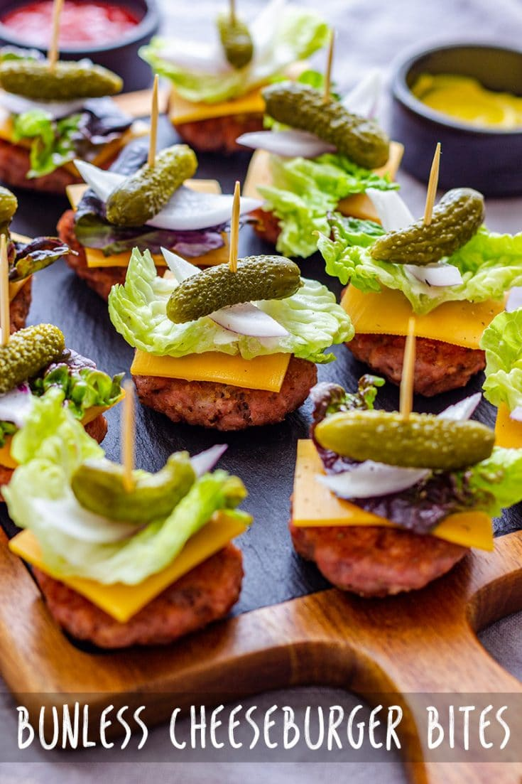 Mini cheeseburger bites are delicious appetizers for any occasion! This is a recipe for bunless burger bites, but you can serve them with mini bread buns, if you like. #appetizerrecipes #cheeseburgers #burgerbites #miniburgers #bunlessburgers