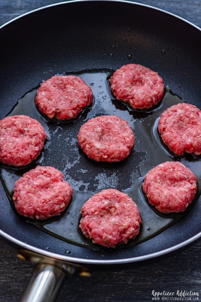 Cooking Mini Cheeseburgers on Skillet