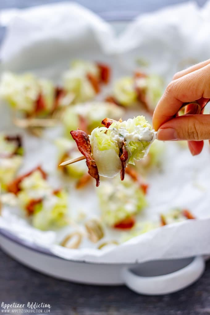 Holding Wedge Salad on a Stick
