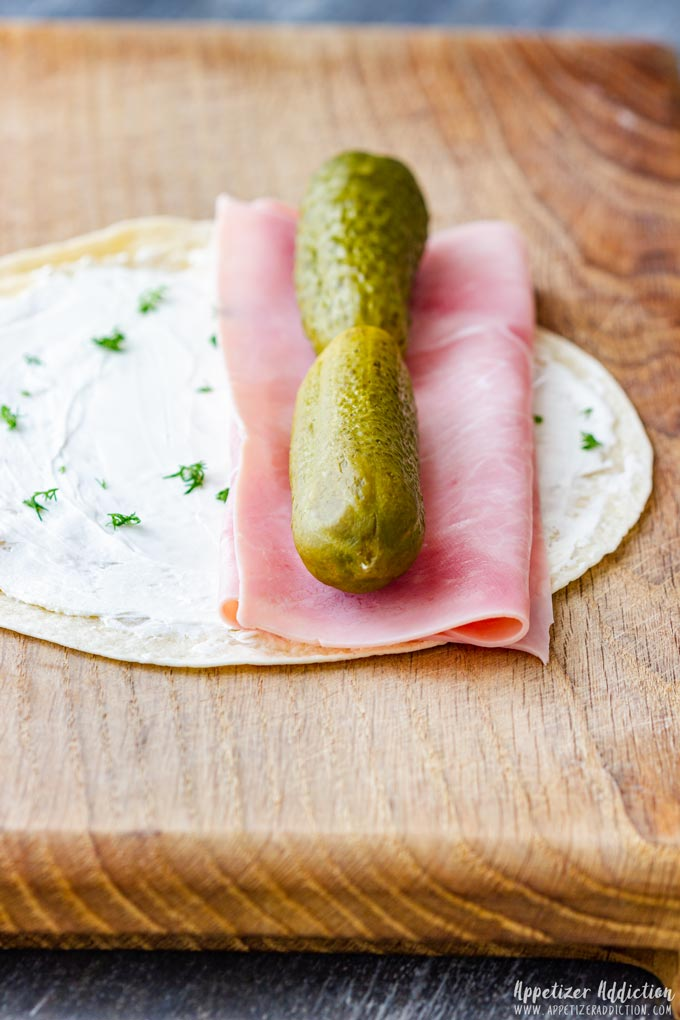 How to make Ham and Pickle Roll Ups Step 1