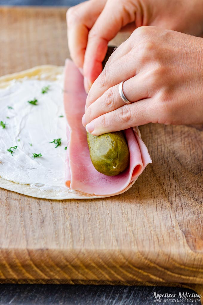 How to make Ham and Pickle Roll Ups Step 2 (How to Roll Rollups)