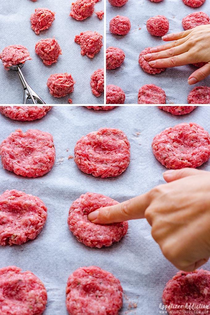 Steps how to make the mini cheeseburgers