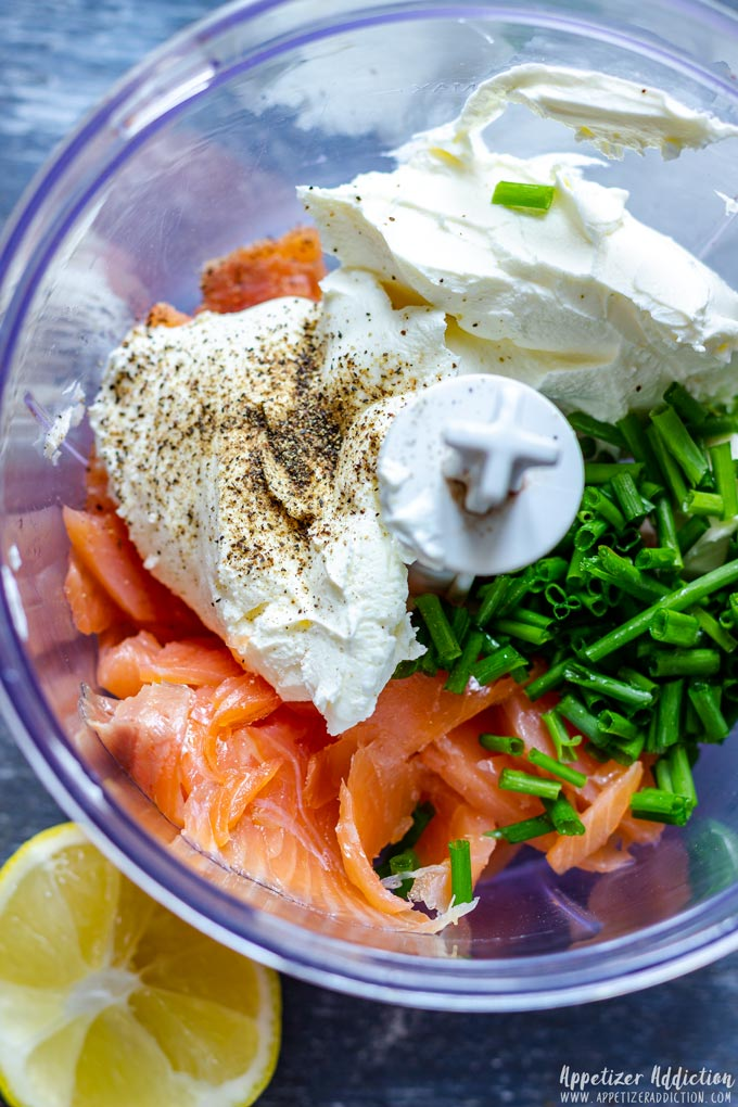 Smoked Salmon Puffs Ingredients in the Blender