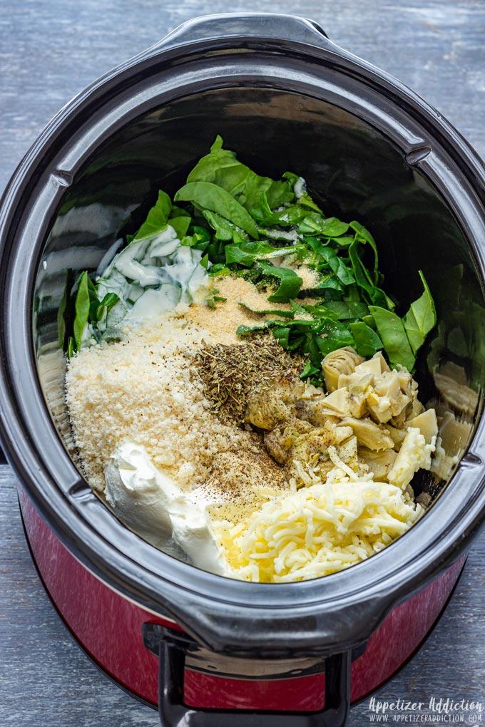 Spinach Artichoke Dip Ingredients in Slow Cooker
