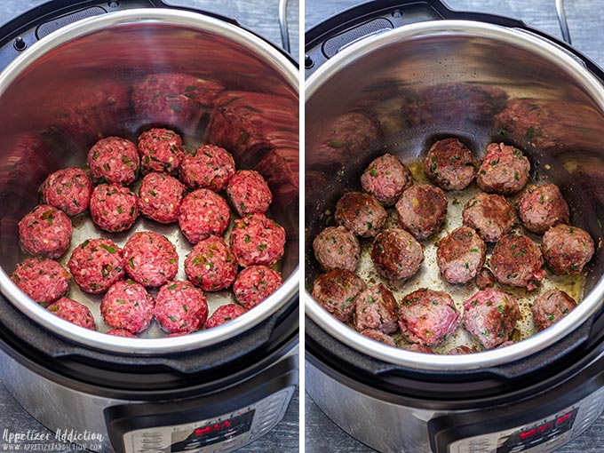 Browning the Meatballs in Pressure Cooker