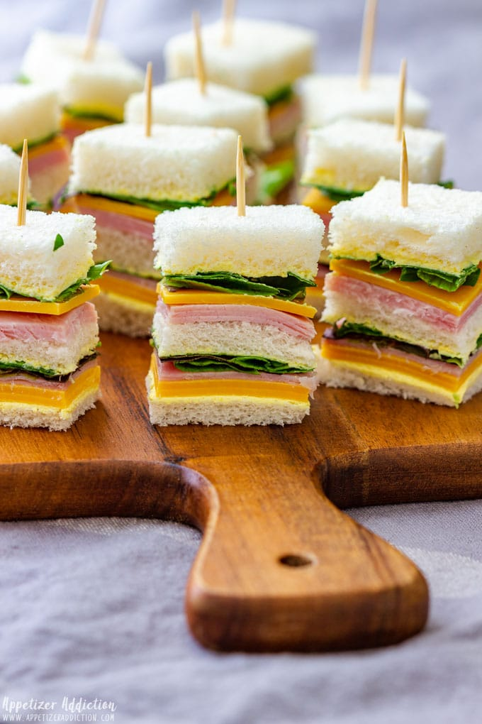 Finger Sandwiches with Ham and Cheese