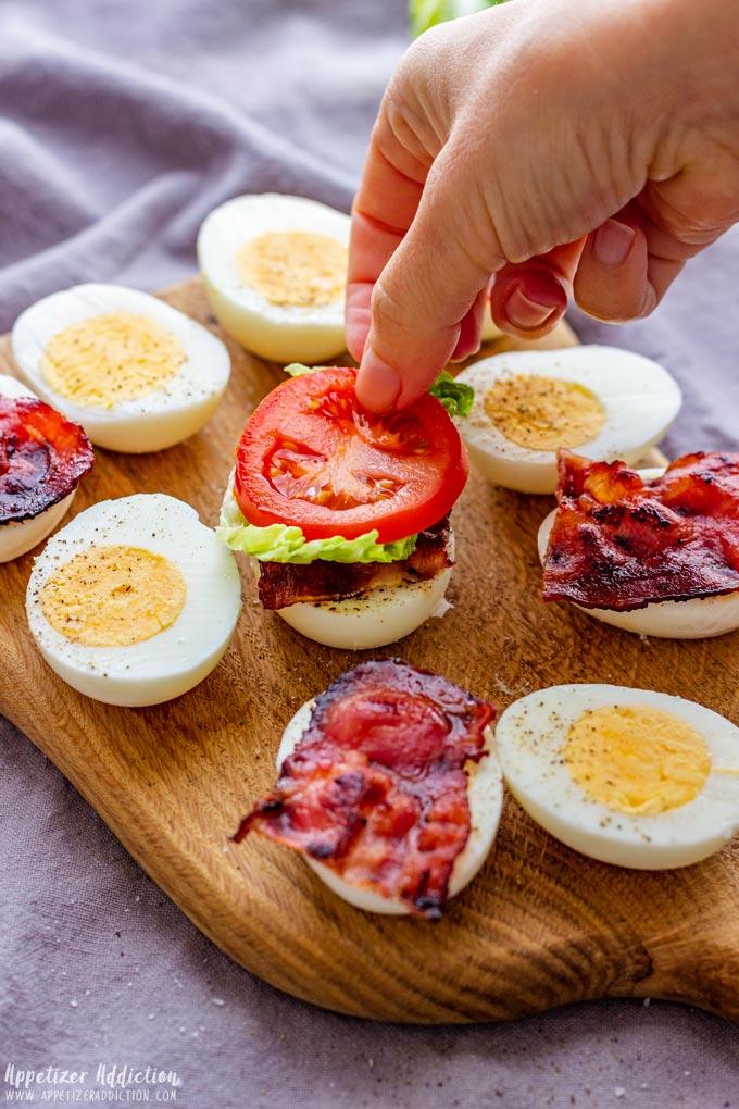 How to make BLT Egg Sliders Step 3 (Assembling the Egg Sliders)