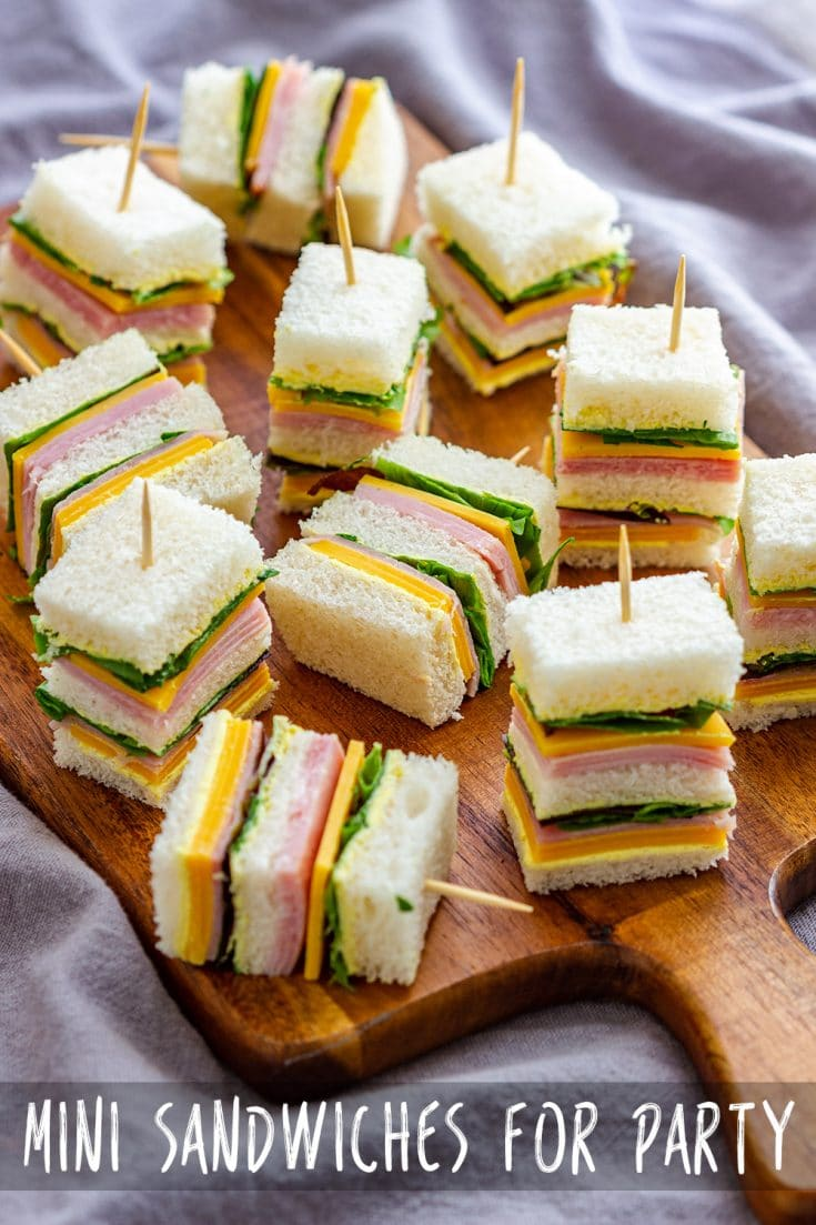 Mini sandwiches are a great snack not only for kids' lunchboxes, but they are also perfect for brunch, party, baby shower or picnic. #minisandwiches #fingersandwiches #partysandwiches #partyfood