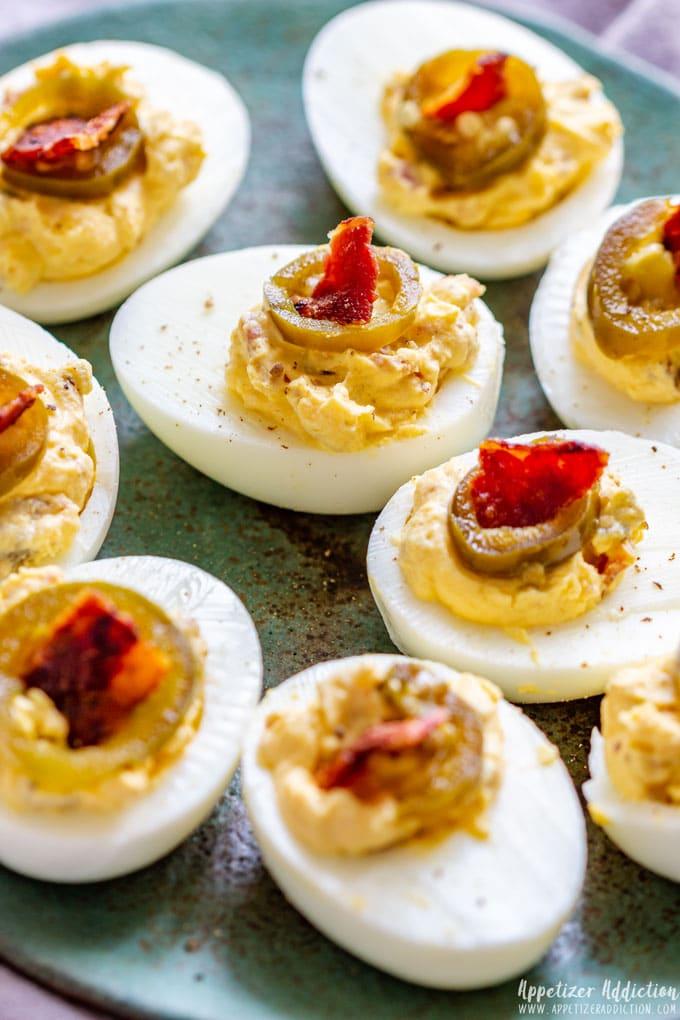 Spicy Bacon Deviled Eggs