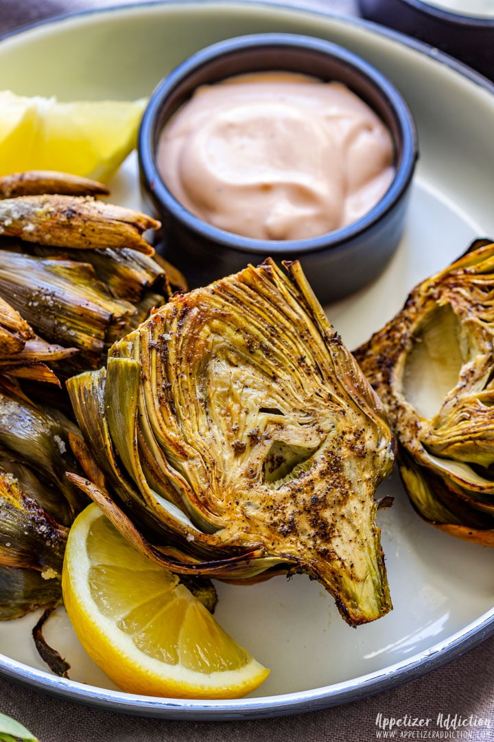 Air Fryer Artichokes with Garlic Sauce