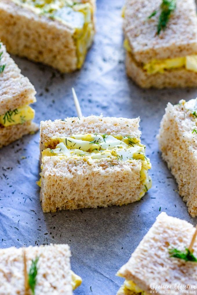 Bite Size Egg Salad Sandwiches