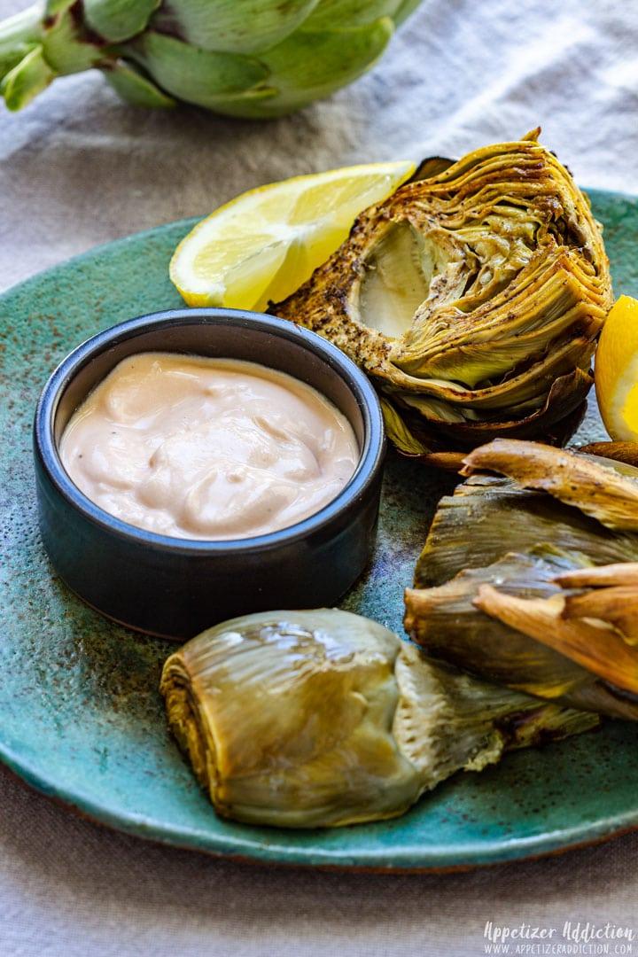 Freshly Made Garlic Dip with Artichokes