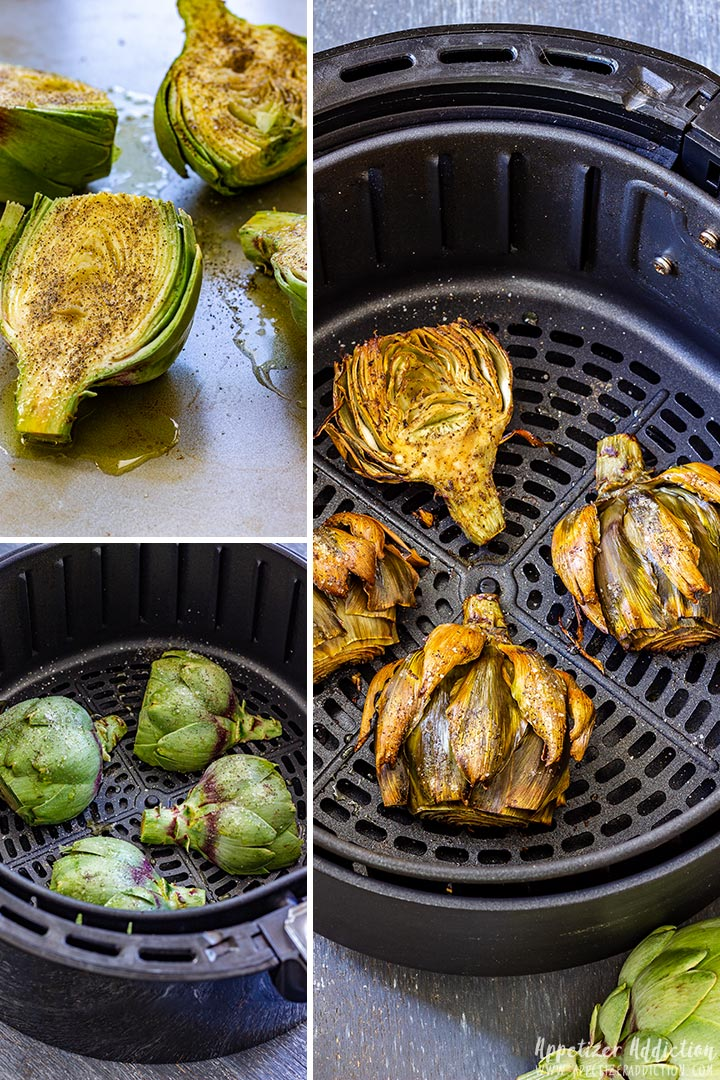 How to make Artichokes in Air Fryer Collage
