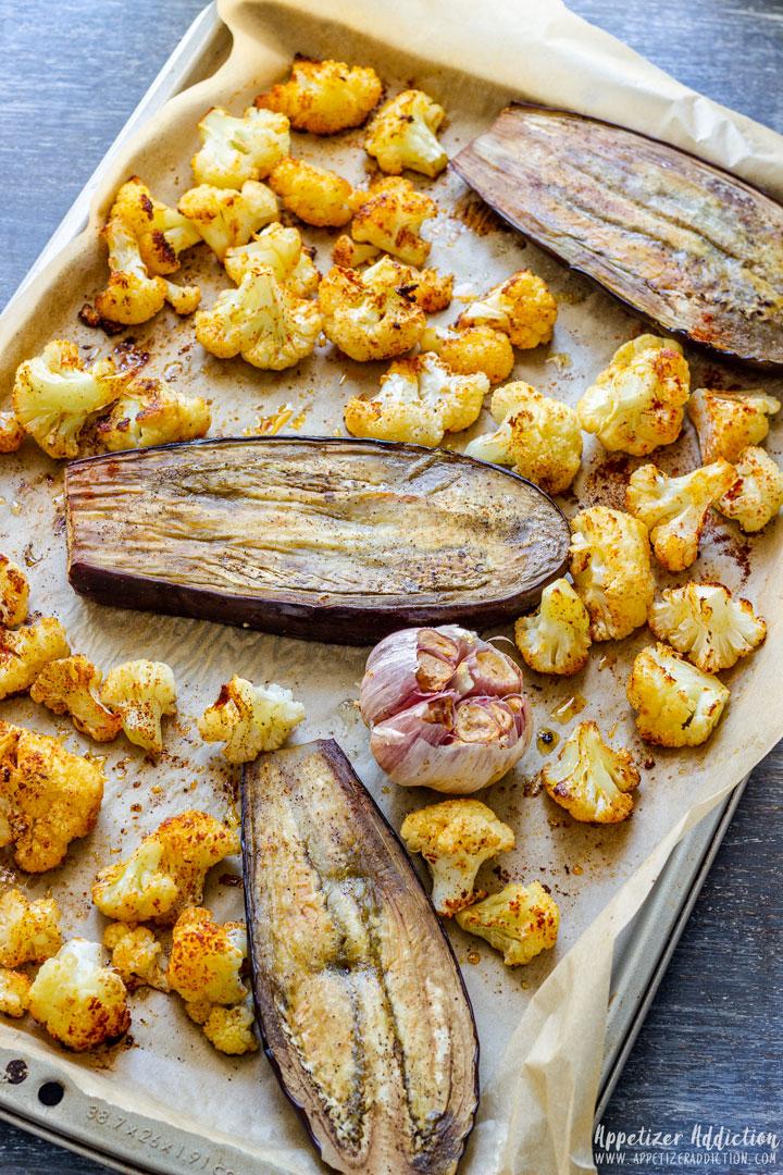 Ingredients of Roasted Eggplant Dip After Cooking