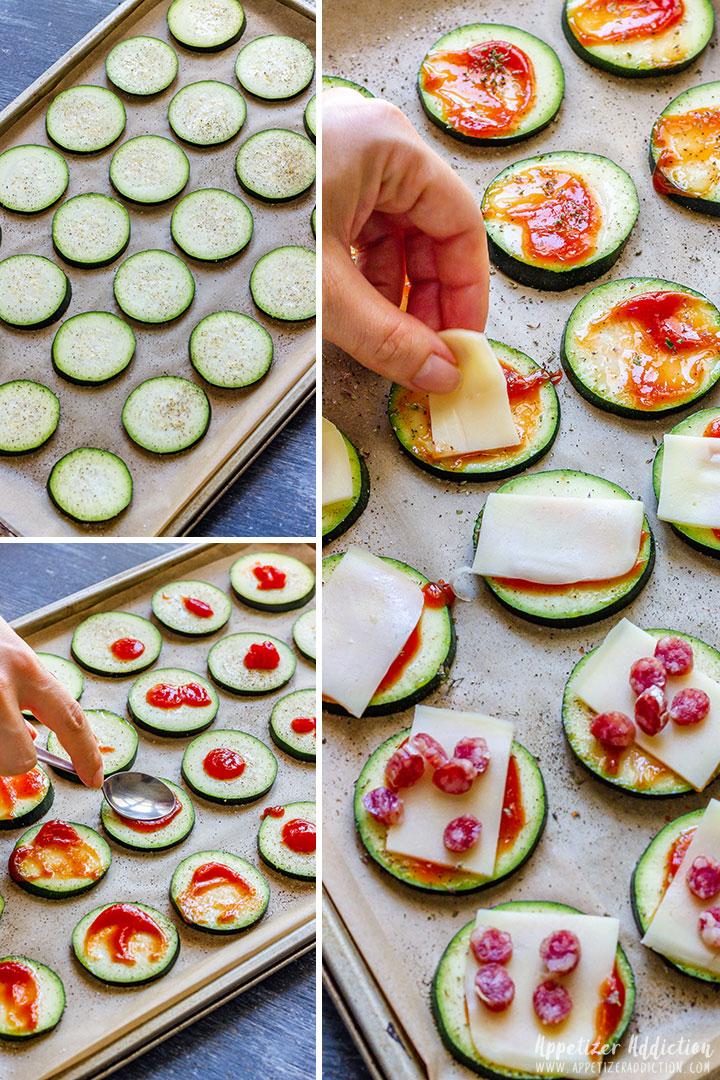 How to make Zucchini Pizza Bites Picture Collage