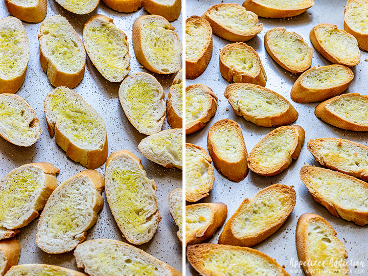 Before and After Baking Crostini