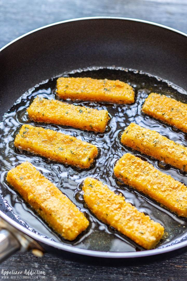 Frying Breaded Polenta Fries
