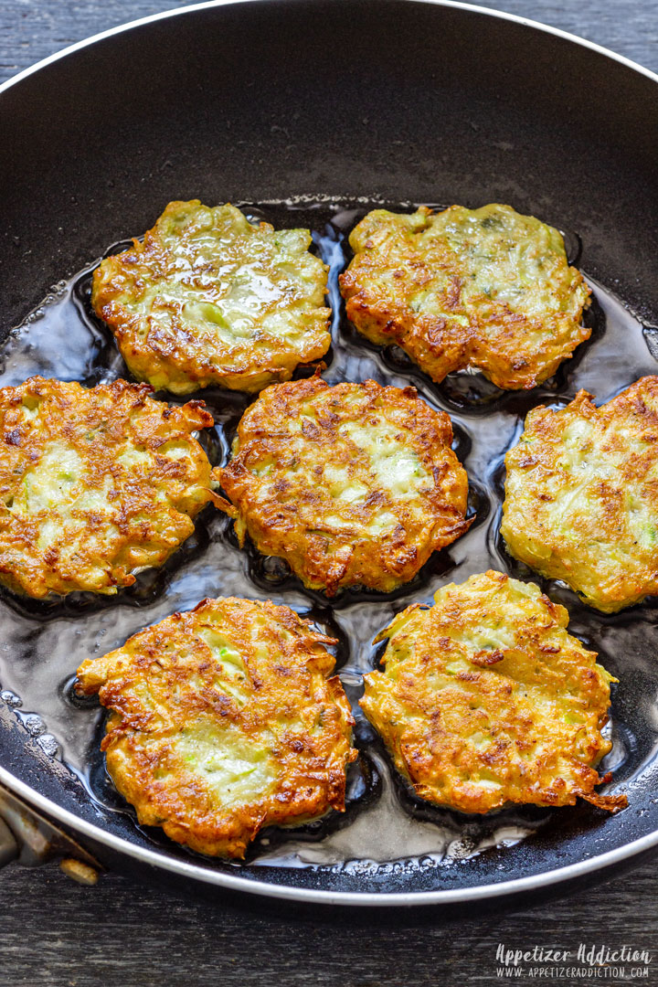 Frying Zucchini Fritters on the pan