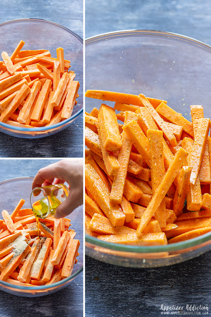 How to season sweet potato fries picture collage