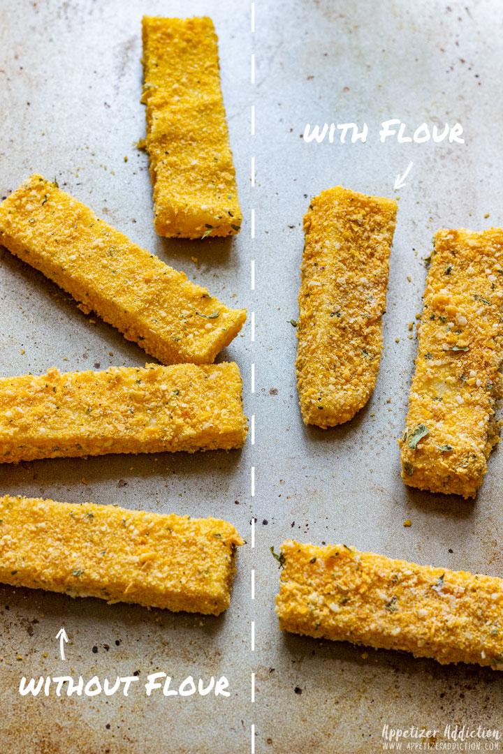 Polenta Fries with Flour versus without Flour