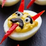 Halloween devil deviled eggs pin