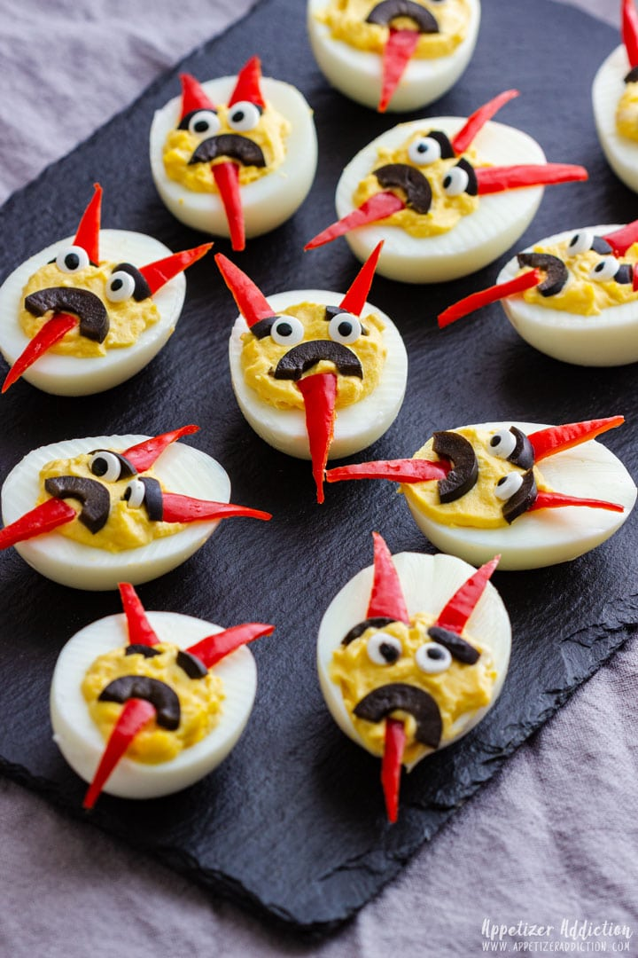 Halloween themed deviled eggs