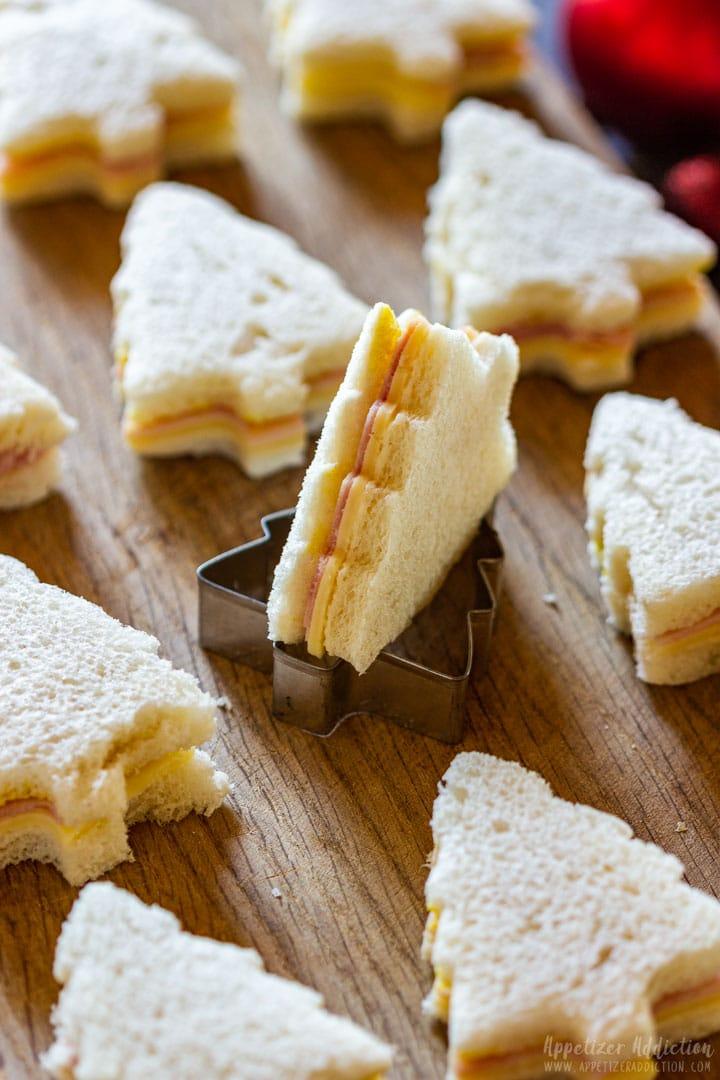 Christmas tree mini sandwiches