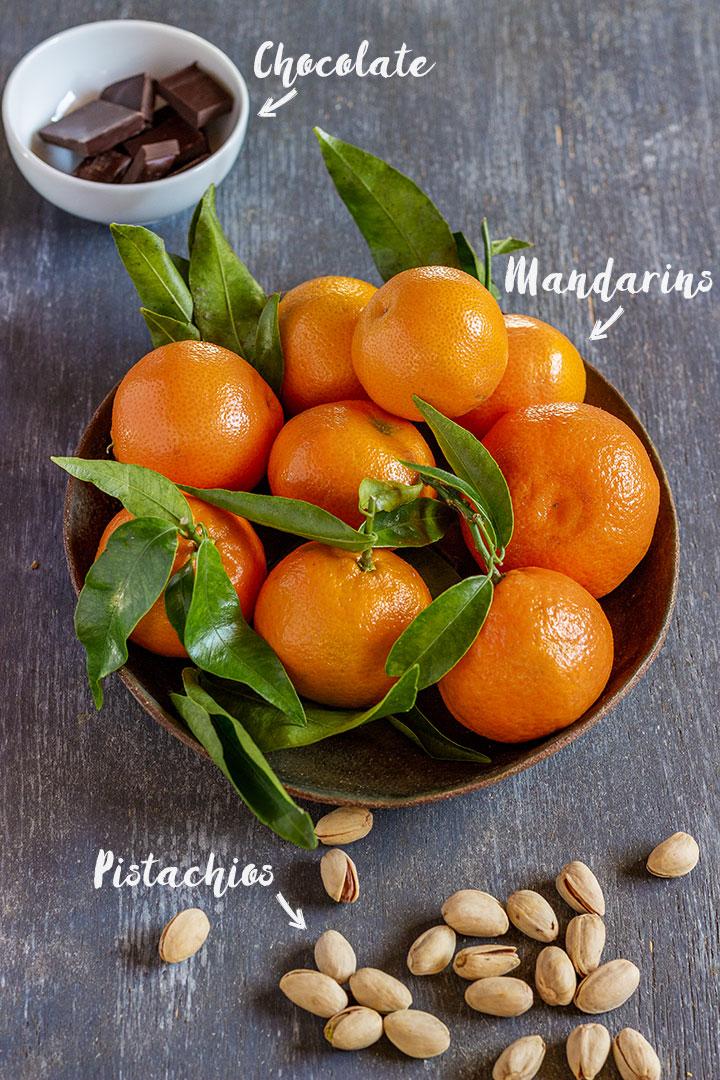 Chocolate dipped mandarins ingredients