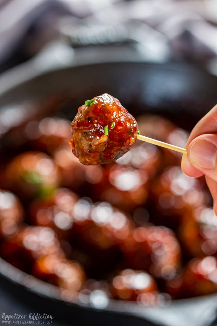 Cranberry meatball on the cocktail stick
