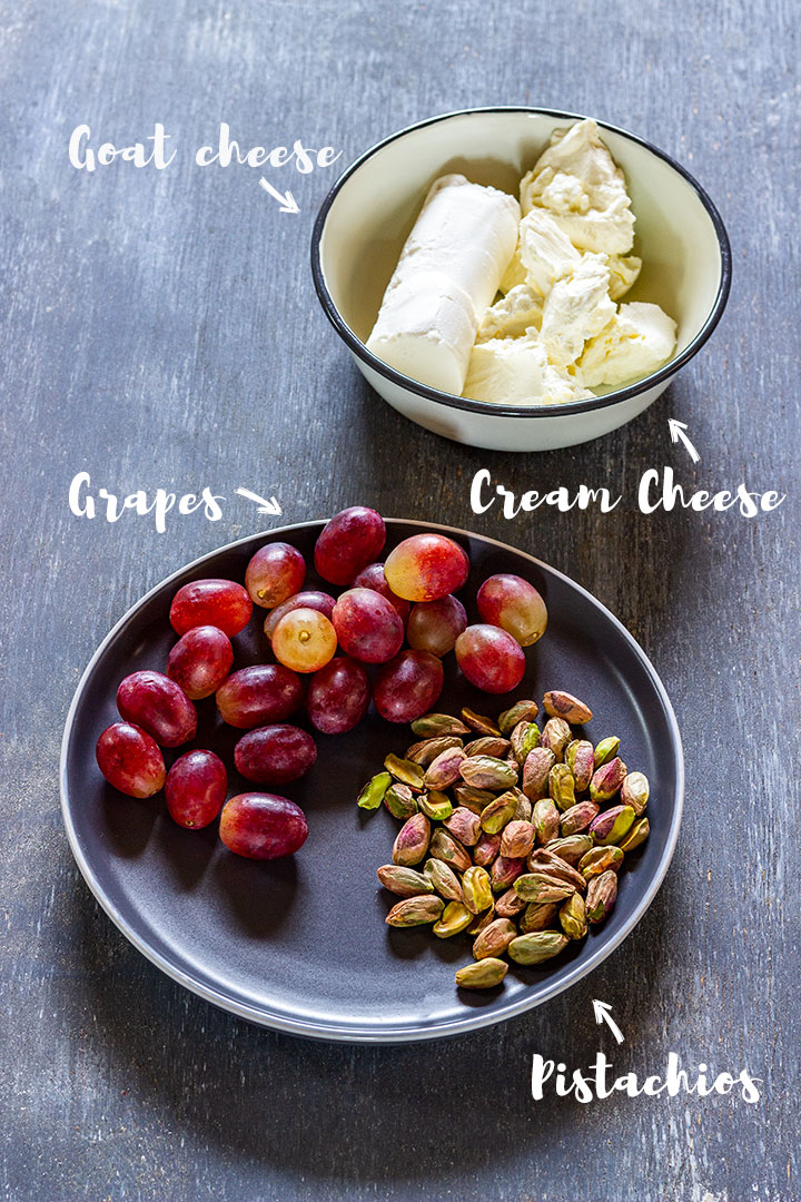 Goat cheese wrapped grapes ingredients