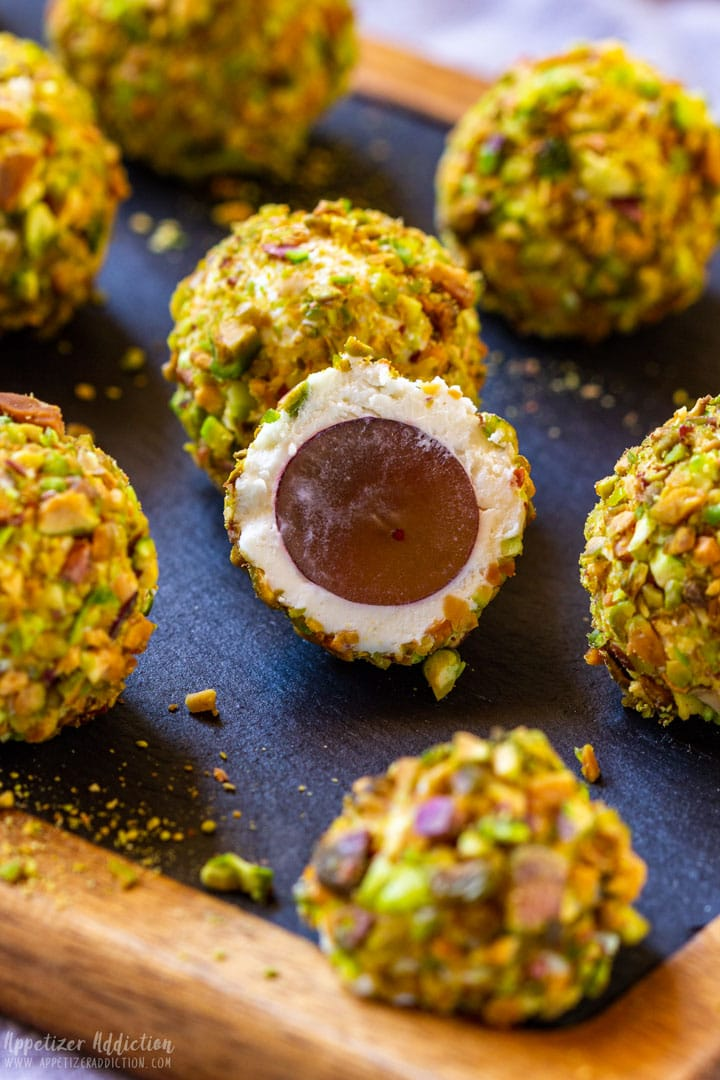 Grapes wrapped goad cheese pistachios