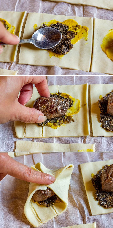 Making beef wellington bites step 1